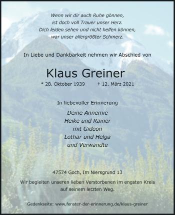 Traueranzeige von Klaus Greiner von Rheinische Post