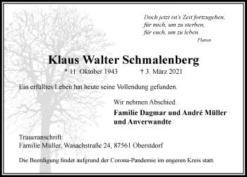 Traueranzeige von Klaus Walter Schmalenberg von Rheinische Post
