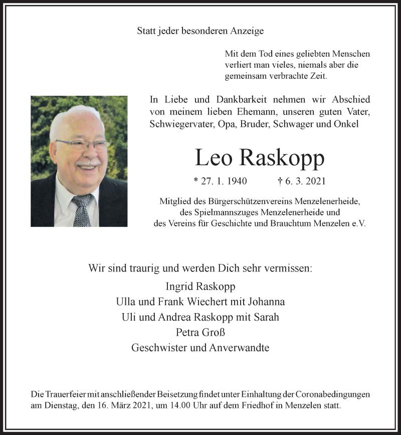 Traueranzeige für Leo Raskopp vom 10.03.2021 aus Rheinische Post