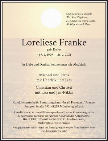 Traueranzeige von Loreliese Franke von Rheinische Post