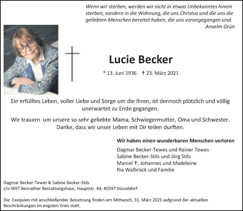 Traueranzeige für Lucie Becker vom 27.03.2021 aus Rheinische Post