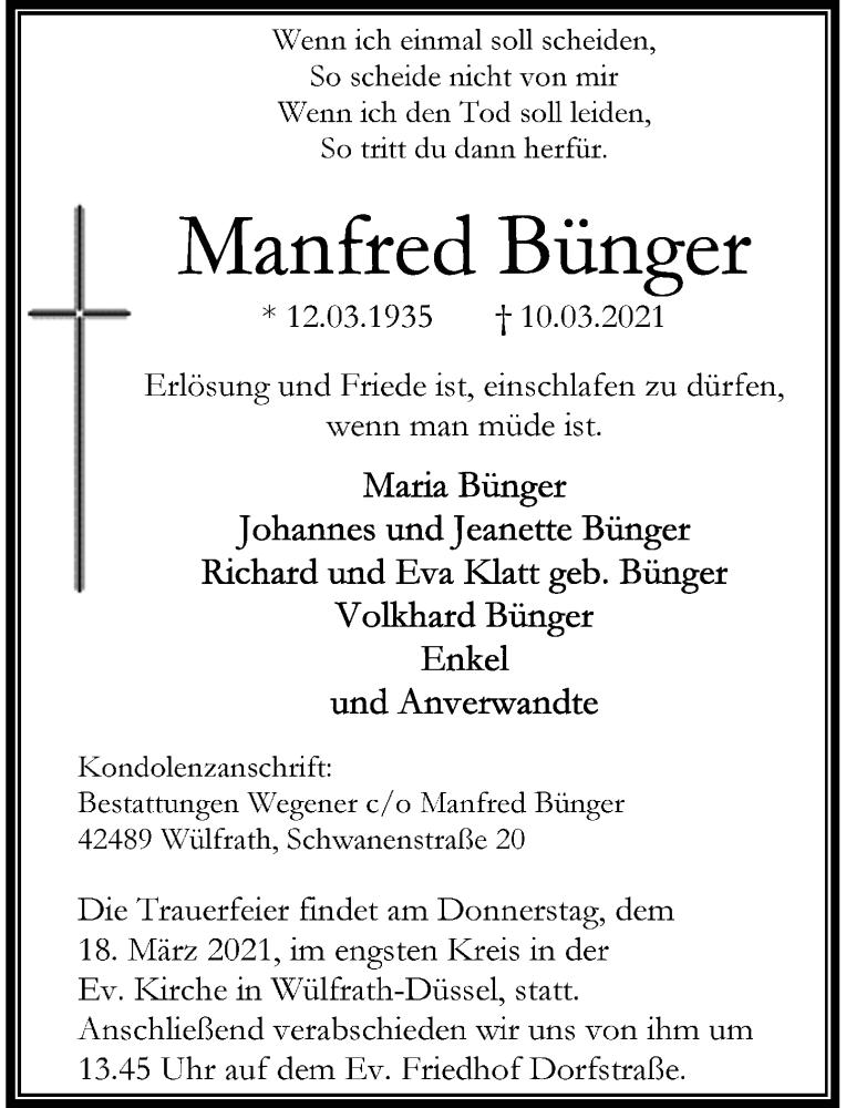 Traueranzeige für Manfred Bünger vom 13.03.2021 aus Rheinische Post