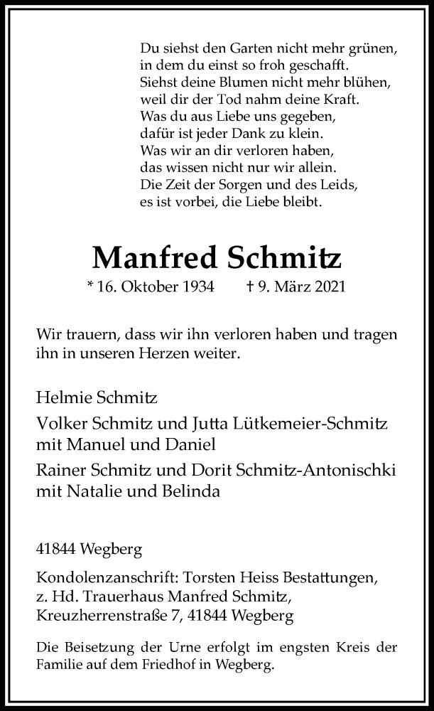 Traueranzeige für Manfred Schmitz vom 24.03.2021 aus Rheinische Post