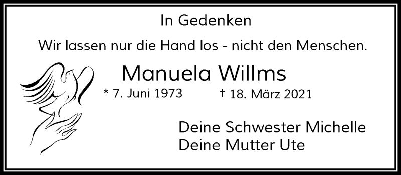 Traueranzeige für Manuela Willms vom 24.03.2021 aus Rheinische Post