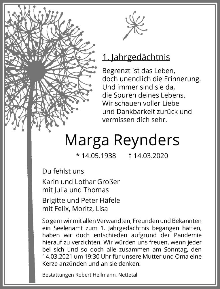 Traueranzeige für Marga Reynders vom 13.03.2021 aus Rheinische Post