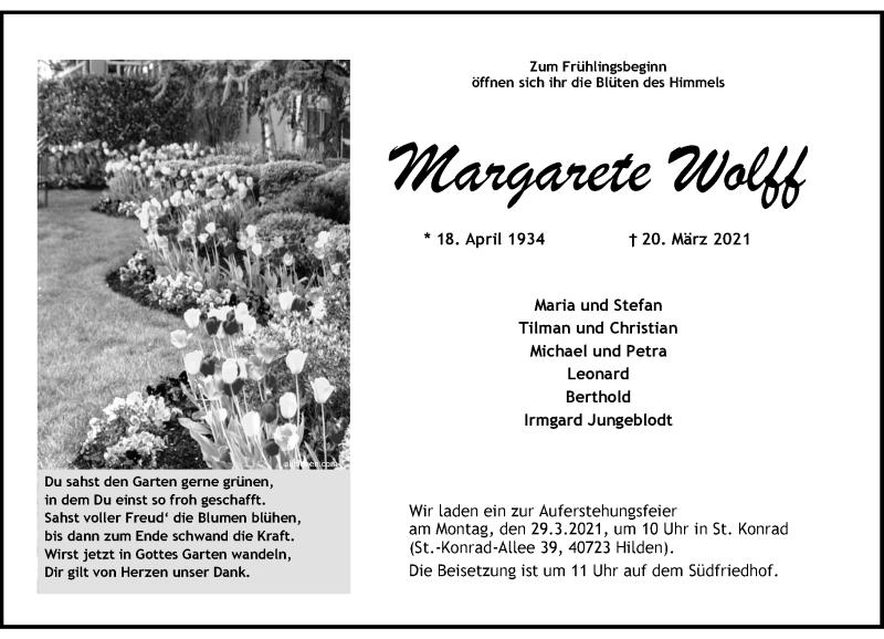 Traueranzeige für Margarete Wolff vom 27.03.2021 aus Rheinische Post