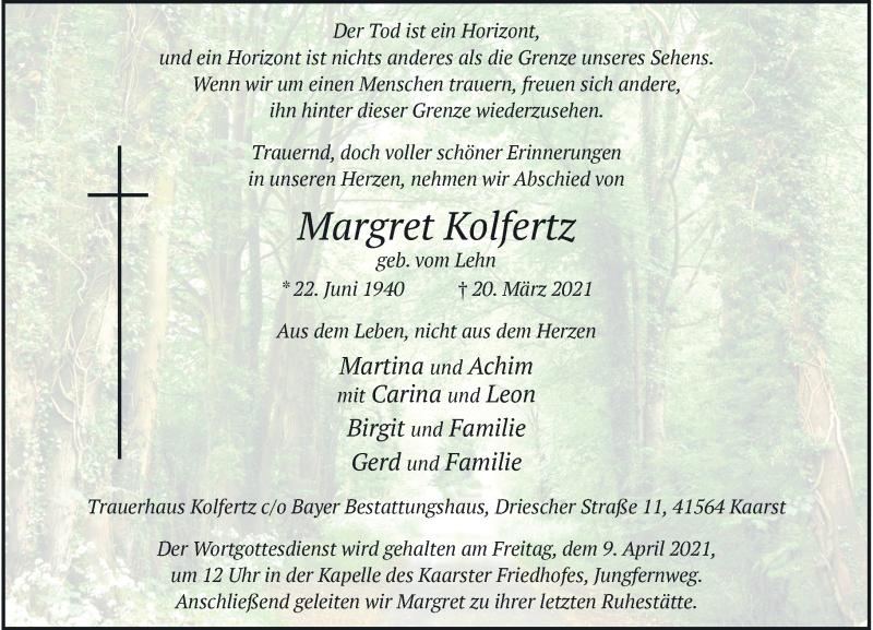 Traueranzeige für Margret Kolfertz vom 27.03.2021 aus Rheinische Post