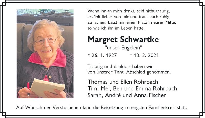 Traueranzeige für Margret Schwanke vom 03.04.2021 aus Rheinische Post