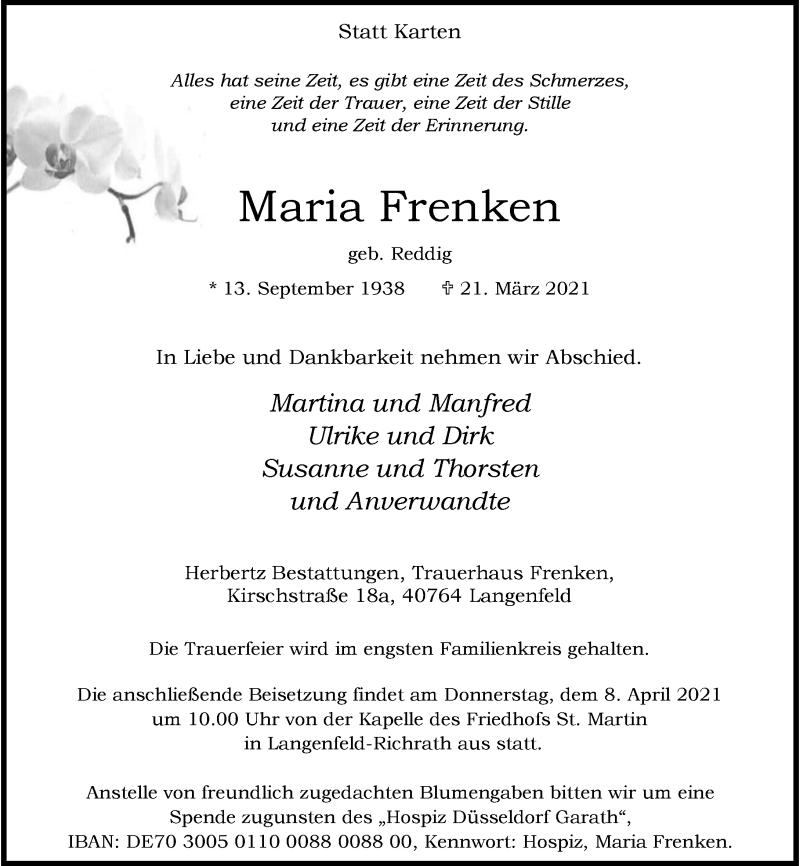 Traueranzeige für Maria Frenken vom 03.04.2021 aus Rheinische Post
