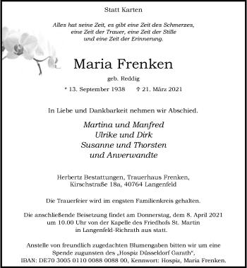 Traueranzeige von Maria Frenken von Rheinische Post