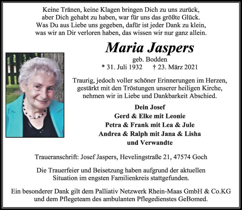 Traueranzeige für Maria Jaspers vom 30.03.2021 aus Rheinische Post