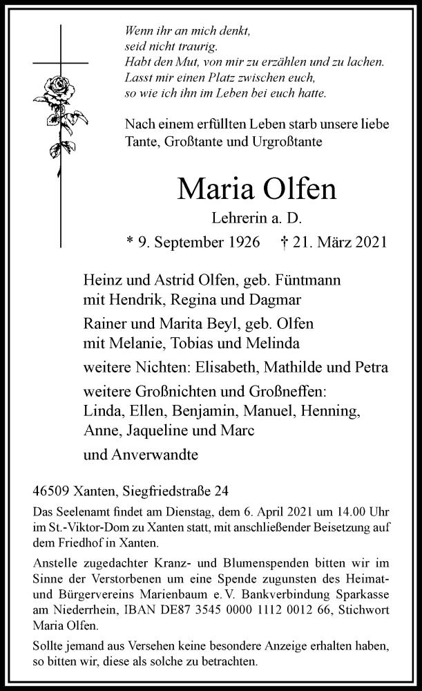 Traueranzeige für Maria Olfen vom 27.03.2021 aus Rheinische Post
