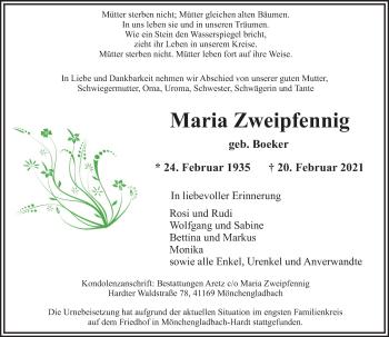 Traueranzeige von Maria Zweipfennig von Rheinische Post