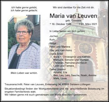 Traueranzeige von Maria van Leuven von Rheinische Post