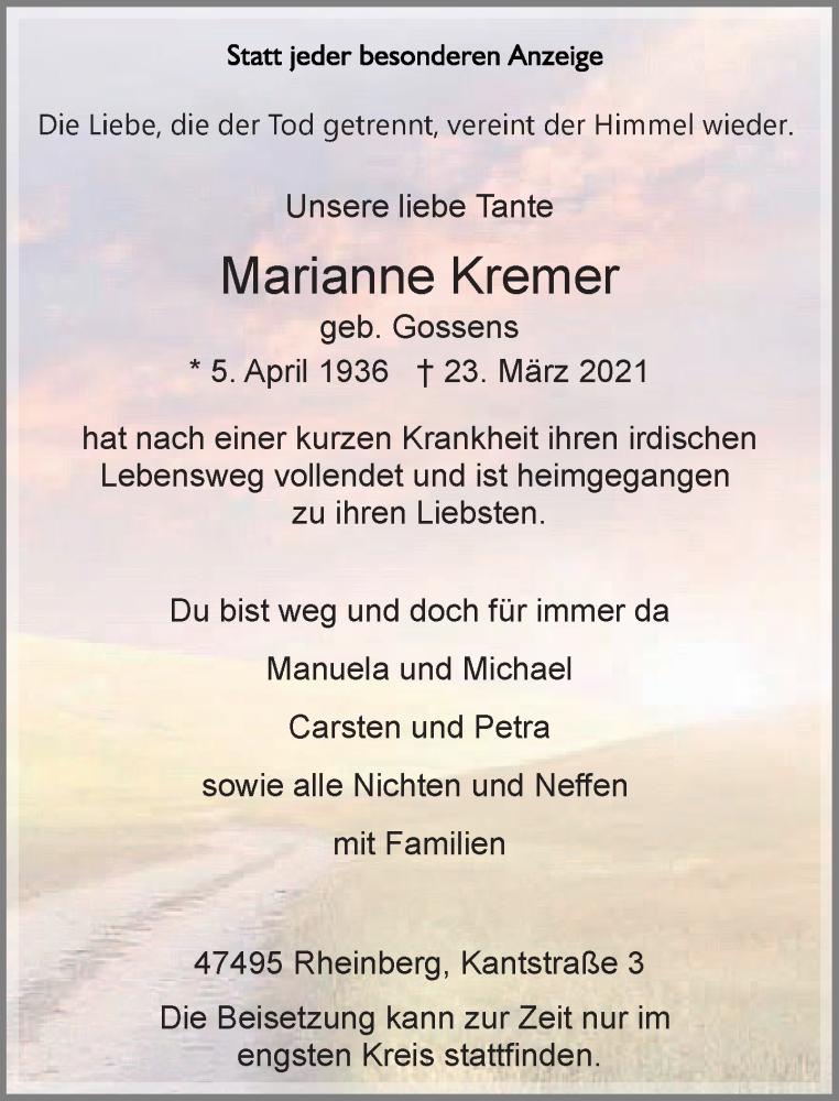 Traueranzeige für Marianne Kremer vom 31.03.2021 aus Rheinische Post