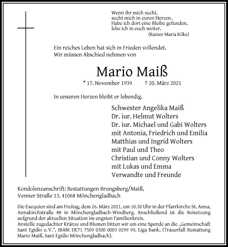 Traueranzeige für Mario Maiß vom 24.03.2021 aus Rheinische Post