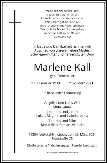 Traueranzeige von Marlene Kall von Rheinische Post