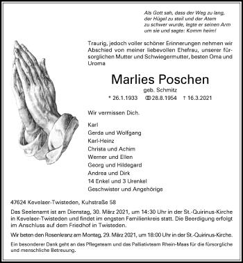 Traueranzeige von Marlies Poschen von Rheinische Post