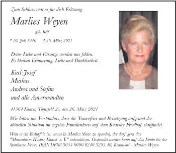 Traueranzeige von Marlies Weyen von Rheinische Post