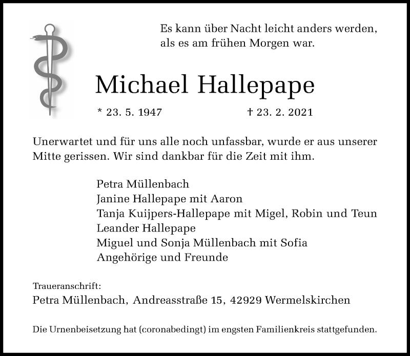 Traueranzeige für Michael Hallepape vom 13.03.2021 aus Rheinische Post
