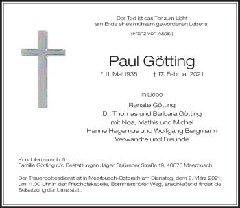 Traueranzeige von Paul Götting von Rheinische Post
