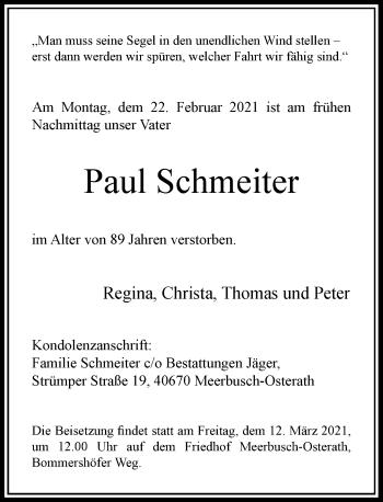 Traueranzeige von Paul Schmeiter von Rheinische Post