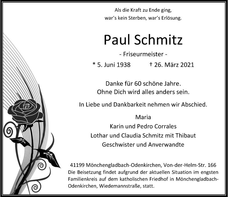 Traueranzeige für Paul Schmitz vom 03.04.2021 aus Rheinische Post