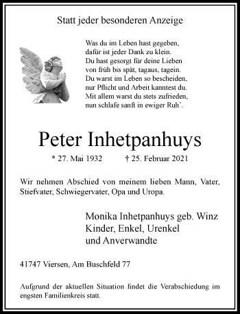 Traueranzeige von Peter Inhetpanhuys von Rheinische Post