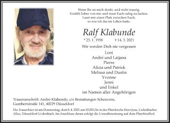Traueranzeige von Ralf Klabunde von Rheinische Post