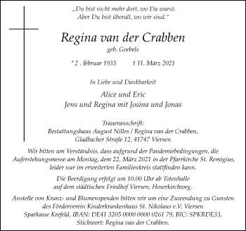 Traueranzeige von Regina van der Crabben von Rheinische Post