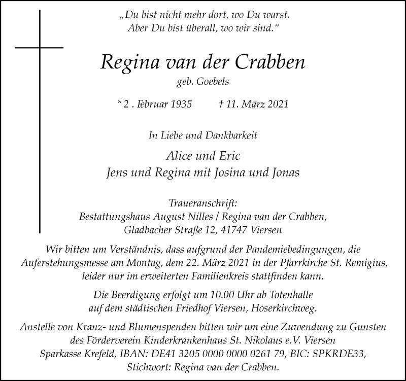 Traueranzeige für Regina van der Crabben vom 20.03.2021 aus Rheinische Post