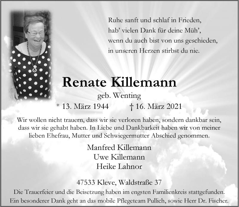 Traueranzeige für Renate Killemann vom 24.03.2021 aus Rheinische Post