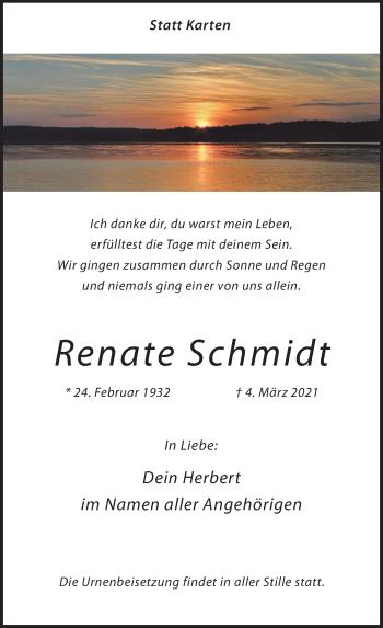 Traueranzeige von Renate Schmidt von Rheinische Post