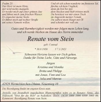 Traueranzeige von Renate vom Stein von Rheinische Post