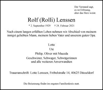 Traueranzeige von Rolf Lenssen von Rheinische Post