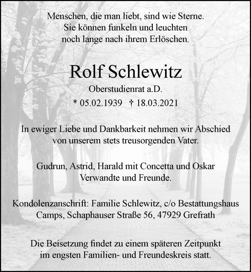 Traueranzeige für Rolf Schlewitz vom 03.04.2021 aus Rheinische Post