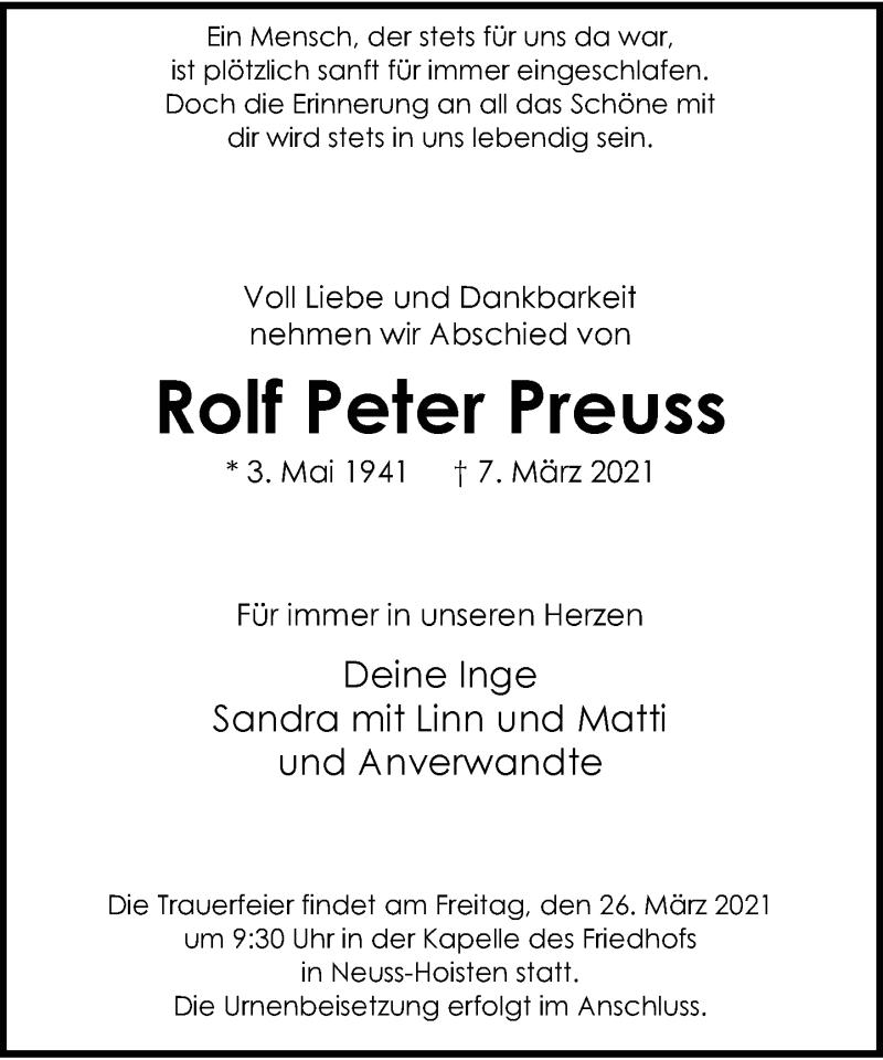 Traueranzeige für Rolf Peter Preuss vom 24.03.2021 aus Rheinische Post