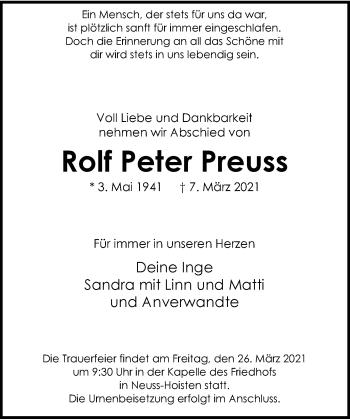 Traueranzeige von Rolf Peter Preuss von Rheinische Post