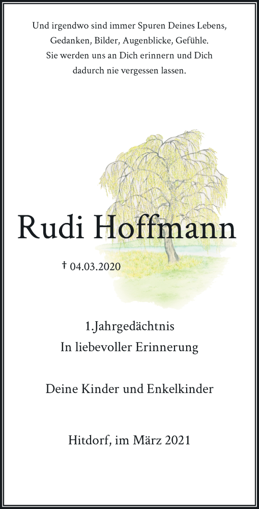 Traueranzeige für Rudi Hoffmann vom 04.03.2021 aus Rheinische Post