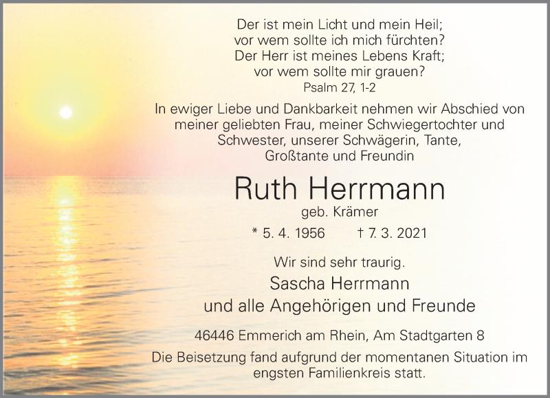 Traueranzeige für Ruth Herrmann vom 20.03.2021 aus Rheinische Post