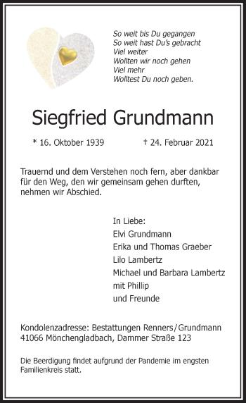 Traueranzeige von Siegfried Grundmann von Rheinische Post