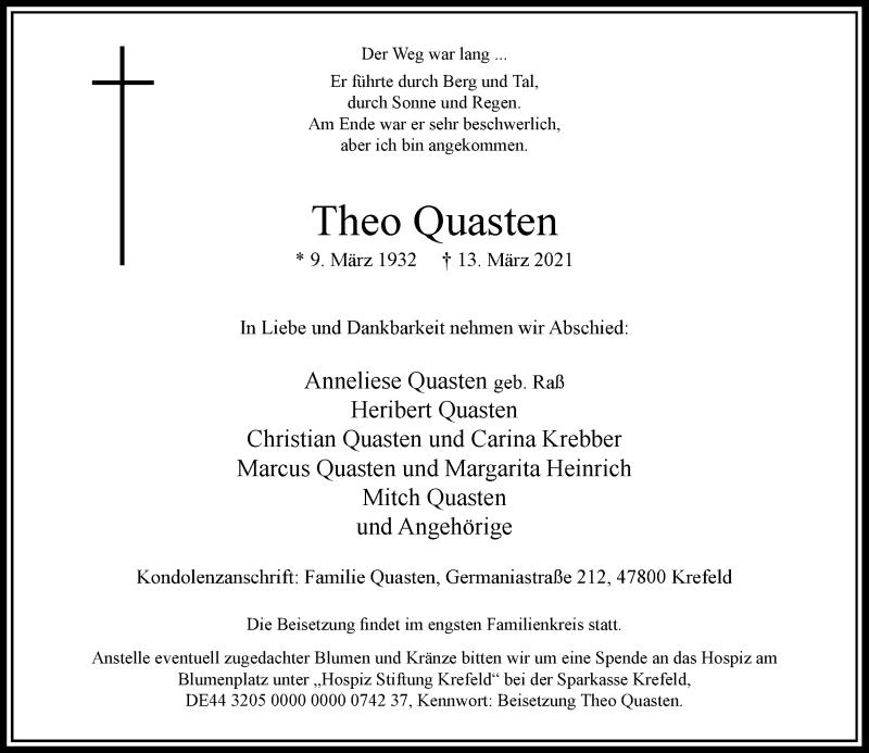 Traueranzeige für Theo Quasten vom 20.03.2021 aus Rheinische Post