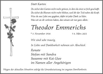 Traueranzeige von Theodor Emmerichs von Rheinische Post