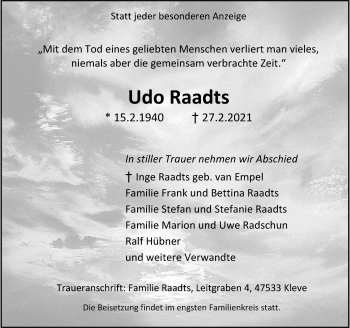 Traueranzeige von Udo Raadts von Rheinische Post