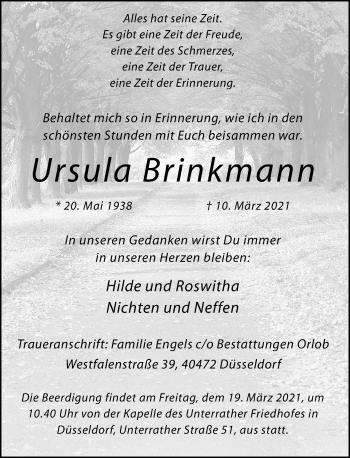 Traueranzeige von Ursula Brinkmann von Rheinische Post