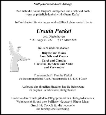 Traueranzeige von Ursula Peekel von Rheinische Post