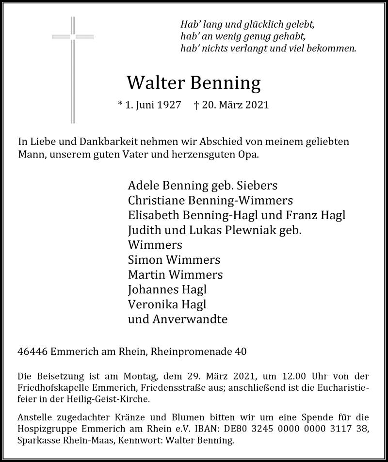 Traueranzeige für Walter Benning vom 27.03.2021 aus Rheinische Post
