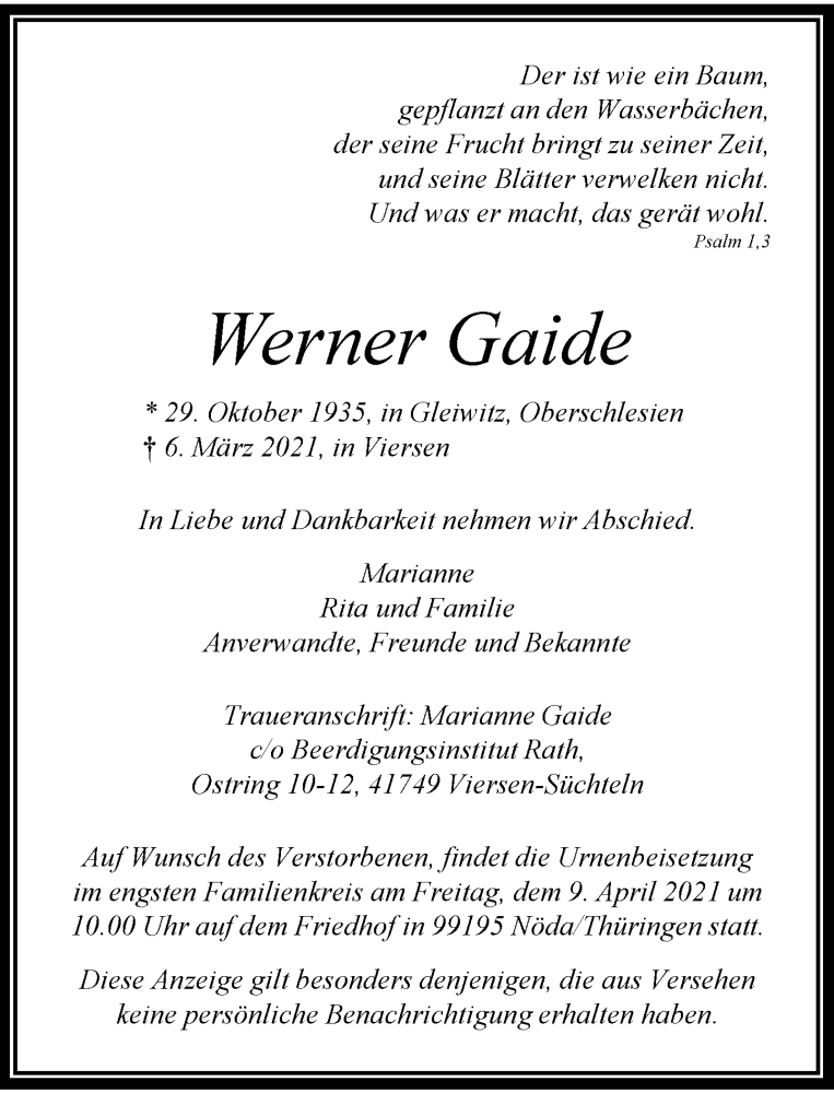 Traueranzeige für Werner Gaide vom 11.03.2021 aus Rheinische Post