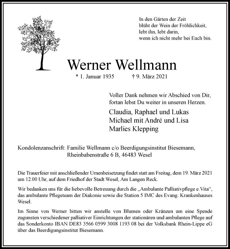 Traueranzeige für Werner Wellmann vom 13.03.2021 aus Rheinische Post