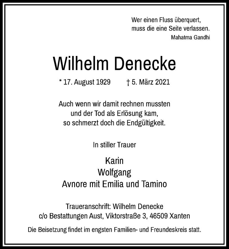 Traueranzeige für Wilhelm Denecke vom 13.03.2021 aus Rheinische Post